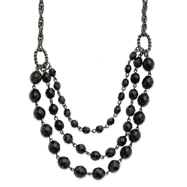 "Black-Plated Faceted Jet Bead 3-Strand  15"" Necklace"