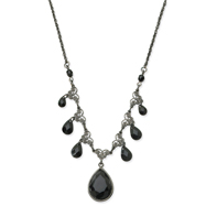 "Black-Plated Faceted Jet Bead Multi Teardrop 16"" Necklace"