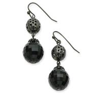 Black-Plated Filigree & Faceted Jet Bead Drop Earrings
