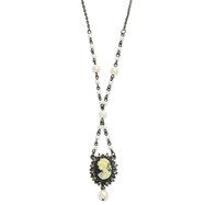 "Black-Plated Cameo Black Crystal Cultura Glass Pearl 15""  Necklace"