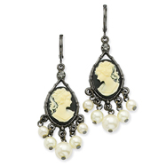 Black-Plated Cameo Cultura Glass Pearl Leverback Earrings