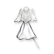Sterling Silver Satin Diamond Cut Angel Pendant & Pin