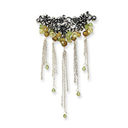 Sterling Silver Peridot/Freshwater Cultured Gold Pearl/Lime Crystal Pin