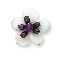 Sterling Silver Amethyst/FW Cultured Pearl & Mother of Pearl Flower Pin