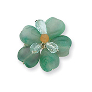 Sterling Silver Carnelian/Fluorite/Green Crystal Bead Flower Pin