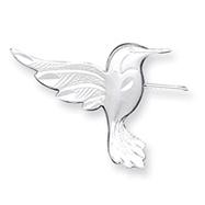 Sterling Silver Satin Finish Diamond Cut Hummingbird Pin