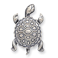 Sterling Silver Antiqued Turtle Pin