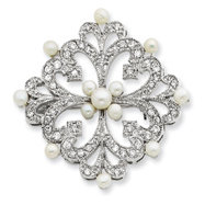 Sterling Silver Freshwater Pearl & CZ Pin