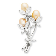 Sterling Silver Freshwater Pearl & CZ Floral Pin