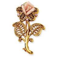 Gold-Tone Pink Porcelain Rose Pink Crystal Pin