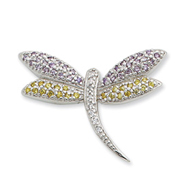 Sterling Silver Yellow & Clear CZ Dragonfly Pin