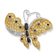 Sterling Silver Vermeil Multicolor CZ Butterfly Slide