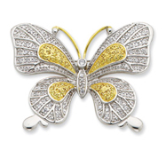 Sterling Silver Vermeil CZ Butterfly Pin