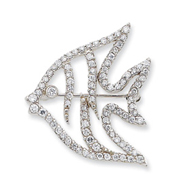 Sterling Silver CZ Fish Slide & Pin