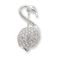 Sterling Silver CZ Flamingo Pin