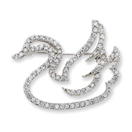 Sterling Silver CZ Swan Slide & Pin