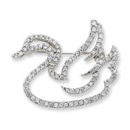 Sterling Silver CZ Swan Slide & Pin