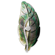 Sterling Silver Mother of Pearl CZ Leaf Pin