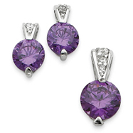 Sterling Silver Purple Color CZ Earrings and Pendant Set