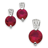 Sterling Silver Red CZ Earrings and Pendant Set