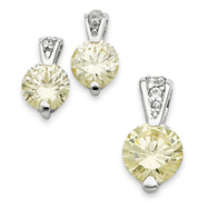 Sterling Silver Yellow CZ Earrings and Pendant Set
