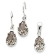 Sterling Silver Champagne CZ Earrings and Pendant Set