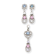 Sterling Silver Pink & Blue CZ Earrings and Pendant Set