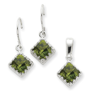 Sterling Silver Olivine CZ Earrings and Pendant Set