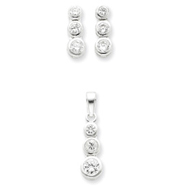 Sterling Silver 3 Stone CZ Earrings and Pendant Set