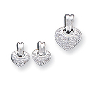 Sterling Silver CZ Heart Earrings and Pendant Set
