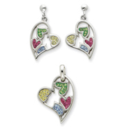 Sterling Silver Multi-color Crystal Heart Earrings and Pendent Set