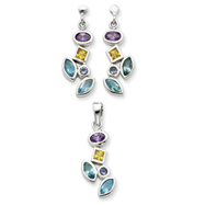 Sterling Silver Multicolored CZ Earrings and Pendant Set