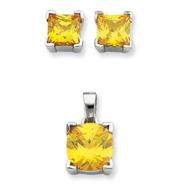 Sterling Silver Yellow CZ Pendant & Earring Set