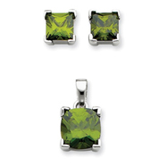 Sterling Silver Dark Green CZ Pendant & Earring Set