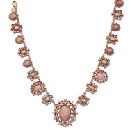 "Rose-Tone Crystal Cultura Glass Pearl Rose Quartz 15.5"" Necklace"