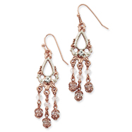 Rose-Tone & Silver-Tone Crystal Drop Earrings