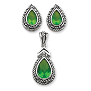 Sterling Silver Green Pendant & Earring Set