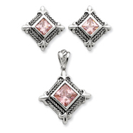 Sterling Silver Pink CZ Pendant & Earring Set