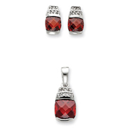 Sterling Silver Red & Clear CZ Pendant & Earring Set