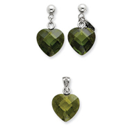 Sterling Silver Green CZ Heart Earring & Pendant Set