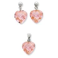 Sterling Silver Pink CZ Heart Earring & Pendant Set
