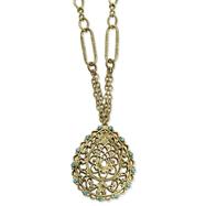 "Brass-Tone Aqua Crystal Filigree 18"" Necklace"