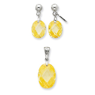 Sterling Silver Yellow CZ Earring & Pendant Set