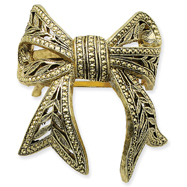 Brass-Tone Bow Ponytail Holder