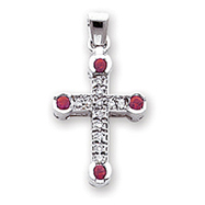 14K White Gold Diamond & Ruby Cross Pendant