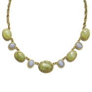 "Brass-Tone Aventurine Blue Lace Agate Ovals 16"" Necklace"