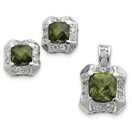 Sterling Silver Green & Clear CZ Pendant & Earring Set