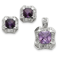 Sterling Silver Purple & Clear CZ Pendant & Earring Set