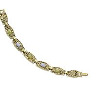 "Brass-Tone Blue Lace Agate Aventurine Ovals Link 7.25"" Bracelet"