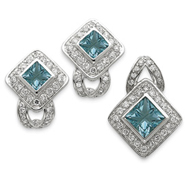 Sterling Silver Light Blue CZ Pendant & Earring Set